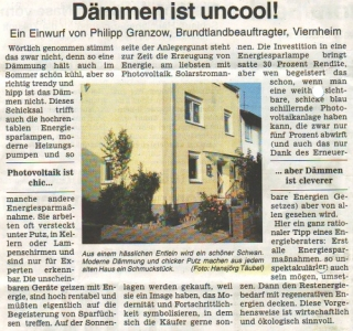 Dieser kleine Zeitungsartikel, erschienen in der Klimaschutz-Zeitung des Kreis Bergstraße, stellt die Hauptvorteile der modernen Dämmungstechnik auf eine besonders humorvolle Art dar.
