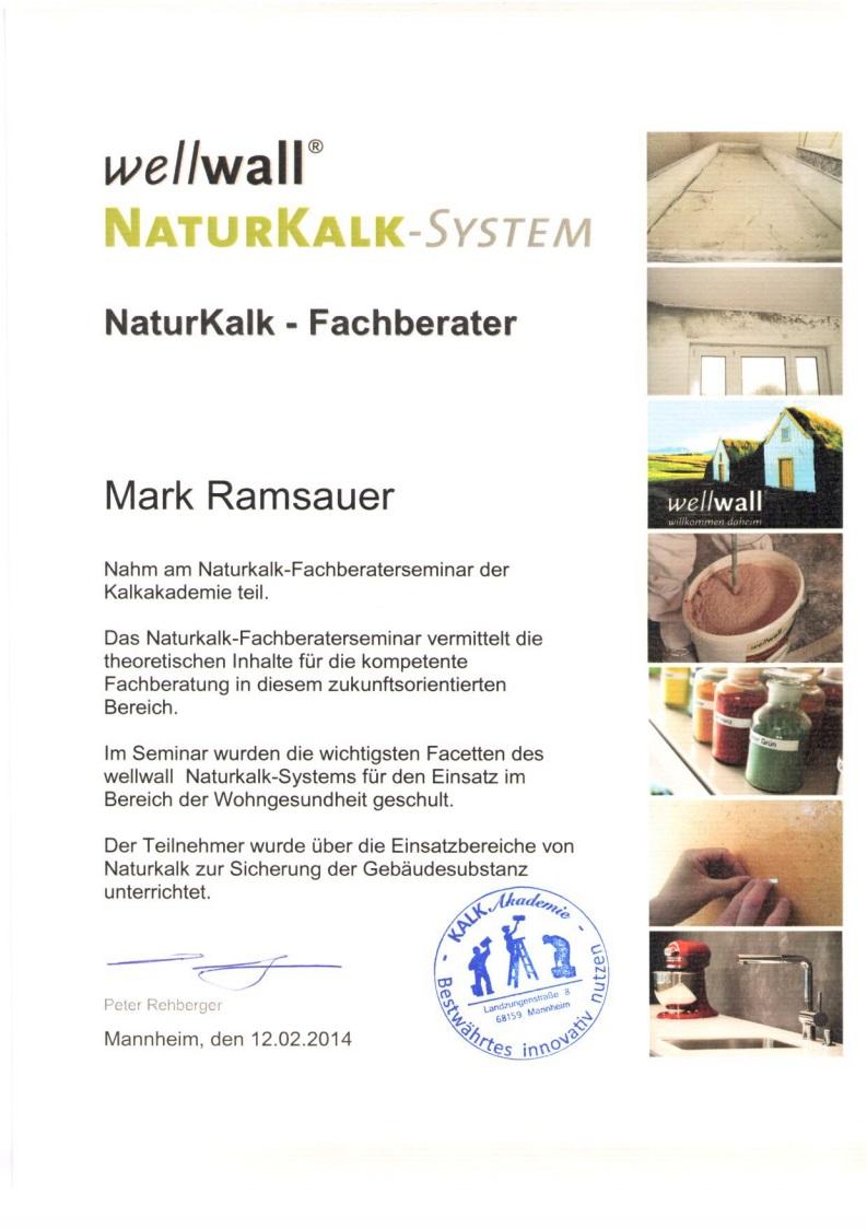 Mark Ramsauer ist nun auch NaturKalk Fachberater. Er hat theoretisches und fachlich fundiertes Wissen auf diesem Gebiet erworben und kann mit diesem Produkt nun arbeiten.